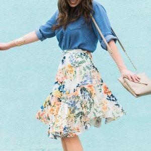 Anthro Ranna Gill Jardin Floral Blooms Skirt